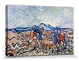 1art1 Vincent Van Gogh - Campesinos Plantando Patatas, 1890 Cuadro, Lienzo Montado sobre Bastidor (120 x 80cm)