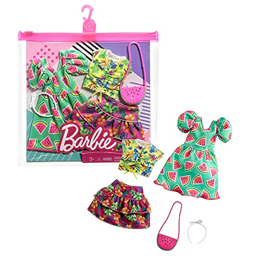 Barbie Fashions 2-Pack Clothing Set, 2 Outfits Doll Include Watermelon-Print Dress, Floral Skirt, Tropical Tank & 2 Accessories, Gift for Kids 3 to 8 Years Old