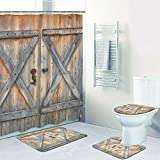 4 Pcs Rustic Barn Door Shower Curtain Set with Non-Slip Rug, Toilet Lid Cover, Bath Mat and 12 Hooks, Vintage Wooden Gate Waterproof Shower Curtain Set for Bathroom