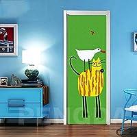 ZWYCEX ドアステッカー 3Dドアステッカーを印刷ピクチャー自己接着壁紙のホームインテリアウォールアートキッズルームを貼り付ける動物ダック防水漫画ゼブラ (Sticker Size : 95x215cm)