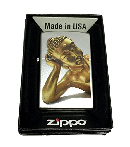Zippo Custom Lighter - Golden Sleeping Buddha - Regular Satin Chrome