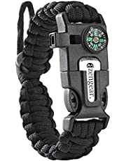 Paracord Survival Bracelet - Flint Fire Starter - Whistle - Compass - Mini Saw - Strong Rescue Rope - Adjustable Band Size - Camping - Bushing - Emergency Kit Orange