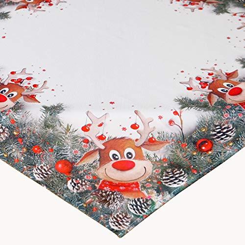 Kamaca Serie Elch mit roter Nase hochwertiges Druck-Motiv mit lustigen Elchen Eyecatcher in Winter Weihnachten (Tischdecke 110x110 cm)