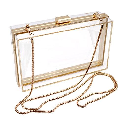 HQdeal Pochette de soirée tendance en acrylique transparent Sacs à bandoulière Sac à main Luxe pour femmes Cadeau idéal