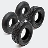 WilTec Set 2X Cubiertas 2X cámaras Aire Tractor cortacésped Carro jardín 15x6.00-6 4PR Válvula Recta Jardín