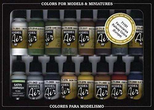 Vallejo Model Air Railway Colors - Set di Colori Acrilici per Aerografo, Colori Asortiti