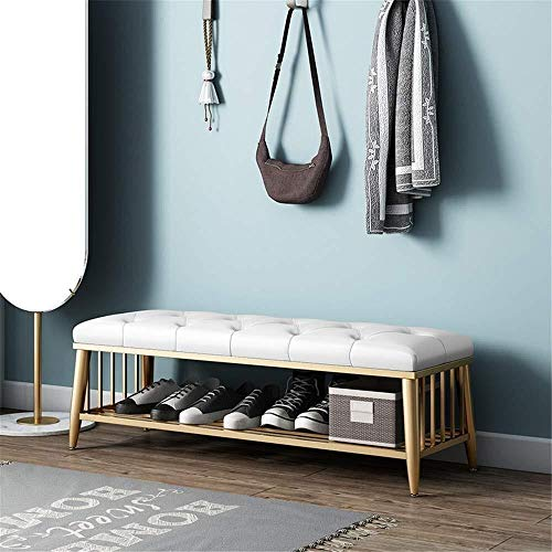 Logo Storage Benches Shoe Bench Faux Leather Rest Stool Sofa Stool Footstool Bed End Stool Button Tufted Decorative Bench With Metal Base 3 Colors For Hallway Door Entryway