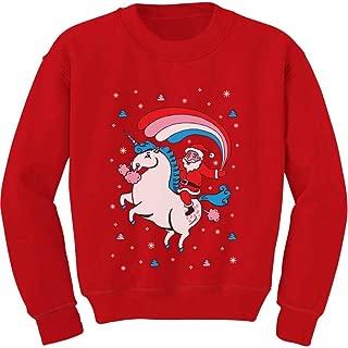Santa Riding Unicorn Rainbow Ugly Christmas Toddler Kids Sweatshirt