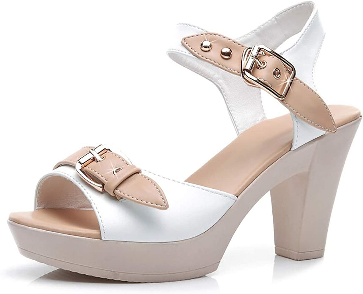 Sandals for Women, Waterproof Platform with High Heel Fish Mouth shoes Women's shoes (color   White, Size   7 US)
