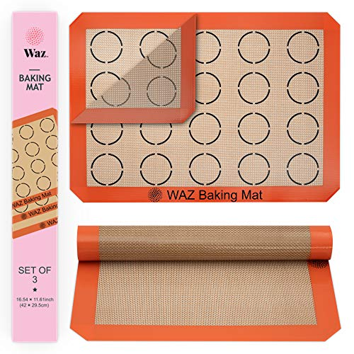 "Silicone Baking Mat Set, 3-Piece Half-Sheet Liners with Professional-Grade Non-Stick Surfaces for Cookies, Macaroons, Pastries and Bread Making (11.625"" x 16.5"" Each)"