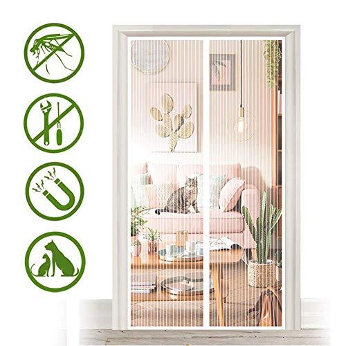 Aboygo Fliegengitter Tür für Tiere 165x230cm Full Frame Klettverschluss Automatisch Verschließen Ohne Bohren (Nicht Kürzbar) Mehrere Größen für Dachfenster Bodentiefe Fenster - Weiß