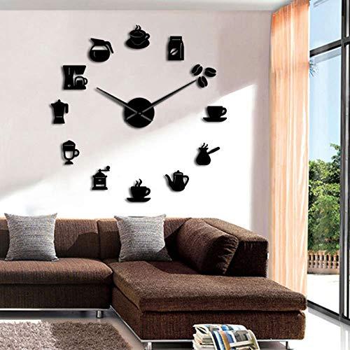YQMJLF Reloj Pared DIY 3D Grande Café DIY Reloj de Pared Diseño Moderno Reloj de Cocina Relojes Reloj Pegatina Taza de café Arte de la Pared Decorativo para cafetería Tienda casa Decor RegaloNegro