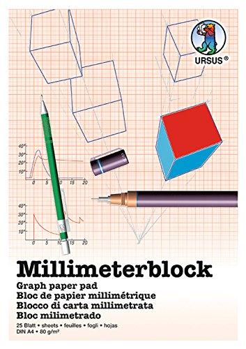 Ursus 7054600 - Millimeterblock A4, 80 g/qm, 25 Blatt