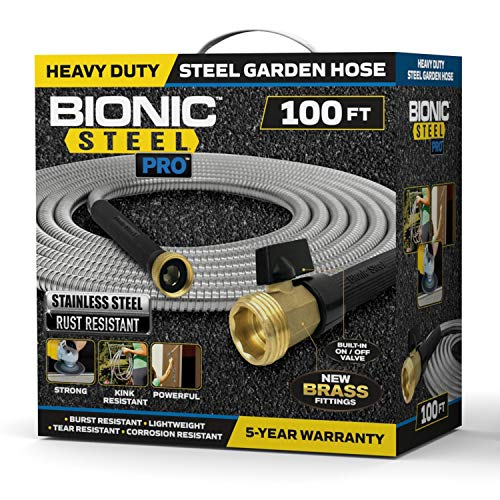 Bionic Steel PRO Garden Hose - 304 Stainless Steel Metal 100 Foot Garden Hose – Heavy Duty Lightweight, Kink-Free, and Stronger Than Ever with Brass Fittings and On/Off Valve – 2019 Model