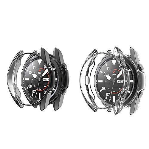 RLTech Funda para Samsung Galaxy Watch 3 45mm, Ultra Delgada Silicone Anti-Rasguños Case Cover para Samsung Galaxy Watch 3 45mm (Negro&Claro)
