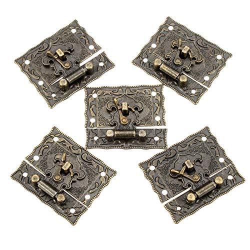 Caja de bloqueo de hebilla de 5 juegos de bronce de madera de la caja de bloqueo de la maleta de palanca de bloqueo de las hebillas tono 5,1 cm x 2,9 cm de los cierres del