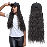 Long Wave Wig with Hat, Adjustable Baseball Cap with Synthetic Hair Extensions Long Wavy Hairpieces Wig Hat for Black Women