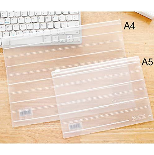 Duidelijke Plastic Portemonnees-A4/A5 mappen Document Zakken, Extra Dikke Papierwerk Pocket File Houder Rits, School Kantoorbenodigdheden voor Recepten Huiswerk A4 10 stuks.