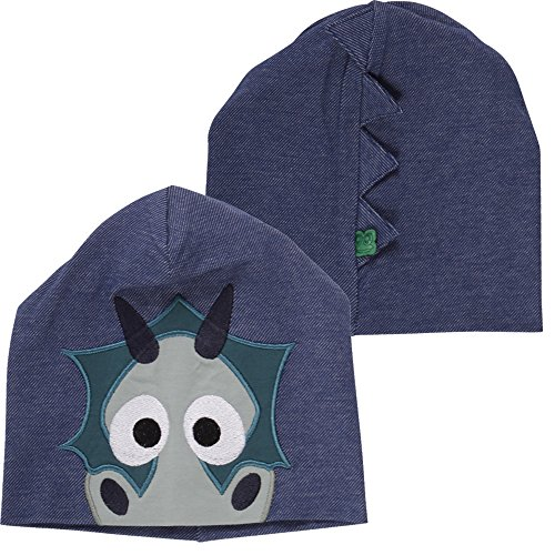 Fred'S World By Green Cotton Dragon Beanie Bonnet, Bleu (Denim 019402601), Small (Taille Fabricant: 68/74) Bébé garçon