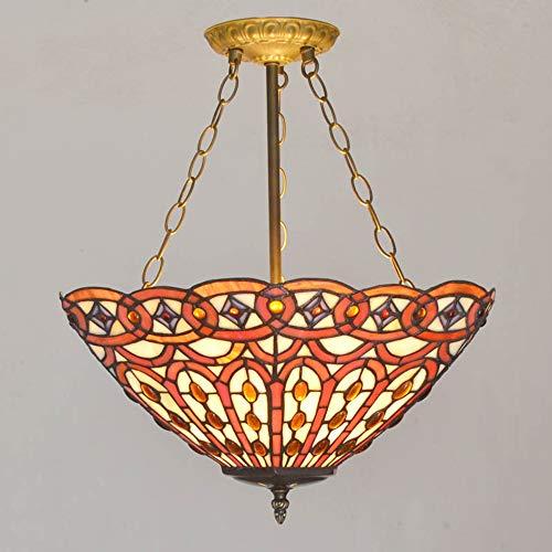 Tiffany stijl plafond hanglamp mediterrane gekleurde glazen lampenkap LED anti-plafond, eenvoudige woonkamer slaapkamer keuken kroonluchter 45cm diameter 110-240V,F