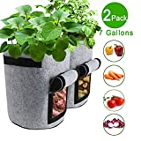 TQQFUN 2 Pack 7 Gallon Smart Potato Bags Velcro Window Vegetable Bags,...