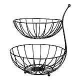 1Pc Metal Fruit Plate Iron Art Basket Double Layers Fruit Storage Basket Restaurant Metal Basket (Color : Black, Size : Small)