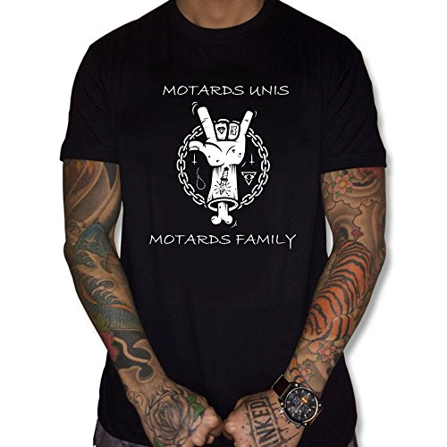 Uraeus T-Shirt Motards Unis Motards Family (L, Noir)