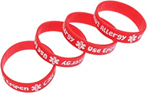 NUOBESTY 4pcs Silicone Sport Medical Alert ID Bracelets Peanut Food Allergy Awareness Silicone Bracelets Wristbands for Kids (Red)
