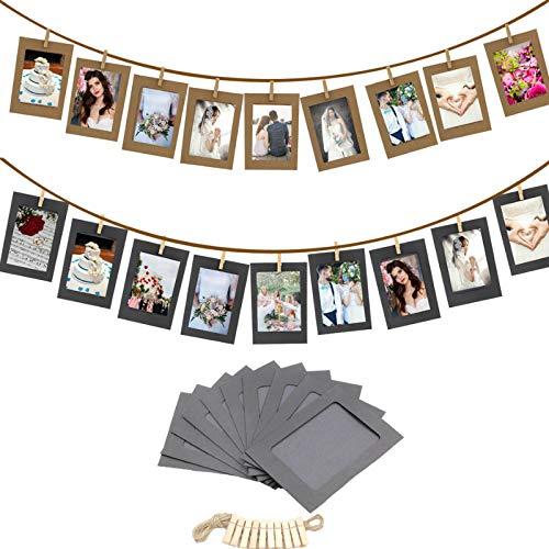 YAOHM 10 Stks DIY Kraft Papier fotolijst 3/5/6 inch Opknoping Muur Foto's Fotolijst Kraft Papier Met Clips en Touw Voor Familie Geheugen