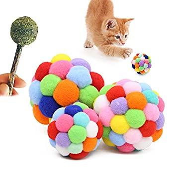 Wudong Lot de 3 balles colorées pour chat avec 1 sucette à chat en peluche, boule de rebond en peluche, jouets interactifs pour chat, entraînement à mâcher