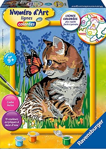 Ravensburger – Numéro d'art moyen format – Chat et son compagnon le papillon – loisir créatif – kit de peinture acrylique – activite détente – enfant dès 9 ans – 29669