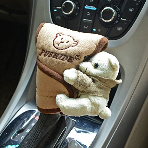 Tianmei Cute Cartoon Bear Doll Styling Car Gear Shift Knob Cover Automobiles Accessories Ornaments (Suede - Brown Color)