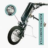 GMtes Triciclo eléctrico Adjunto Silla de Ruedas Kit de conversión de Bricolaje Handbike, Silla de Ruedas eléctrica Rehabilitación Terapia con luz LED Frontal,10.4Ah