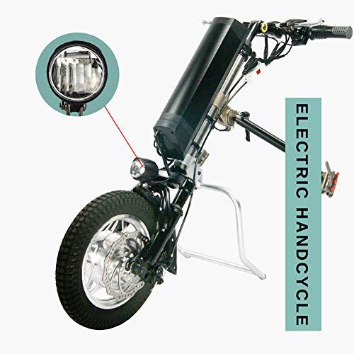 GMtes Elektro-Rollstuhl-Handcycle Anlage Handbike DIY Umrüstsatz, Rehabilitationstherapie Elektro-Rollstuhl mit LED-Frontleuchte,8Ah