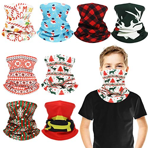 8 Pieces Christmas Kids Neck Warmer Gaiter Winter Windproof Face Cover Neck Tube Scarf Cold Weather Outdoor Sport Balaclava Bandana for Boys Girls, Xmas Holiday Series