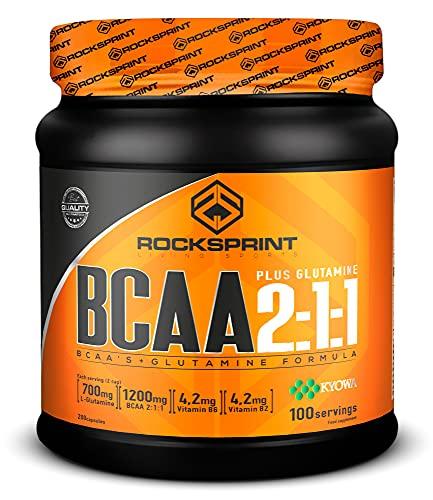 ROCKSPRINT | BCAA EN CAPSULAS | Extra Glutamina | BCAA 2:1:1 Plus Kyowa Glutamine | 200 caps