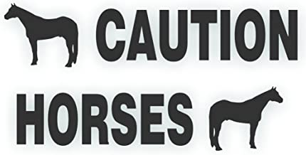 Solar Graphics USA Caution Horses Trailer Decal Safety Kit - American Quarter Horse On Each End REFLECTIVE Black 4.5x50 inch