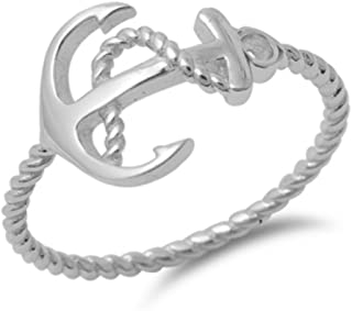 Twisted Cable Shank Beach Anchor Band Ring 925 Sterling Silver