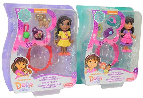 Figuras de Dora y Sus Amigos en Juegos de 2, Mini Figuras de 7,5 cm para coleccionar y Jugar con Accesorios, Juego de Juegos para niñas, niños (Dora und Emma)