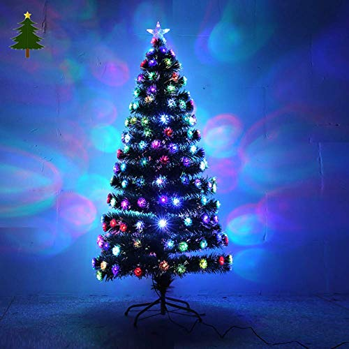weiwei Christmas Tree Fiberglass Light PVC Artificial Pine Easy Assembly Stand with Metal Support 7 Colorful Lights and Star for Market Hotel Indoor-a 90 (35 inch)