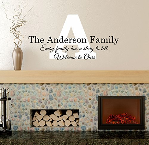 "Every Family Has A Story Wall Decal - Family Name, Family Signs, Wall Decals, Every Family Quote, Family Wall Decals, Quote Wall Decals PP42 Plus Free 12"" White Hello Door Decal, Personalized Decals"