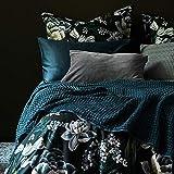 URBANARA 240x265 cm Tagesdecke/Plaid Veiros Petrol — 100prozent Reine Baumwolle — perfekt als Bettüberwurf oder Kuscheldecke mit Strukturiertem Waffelmuster — geeignet für Einzel- & Doppelbett