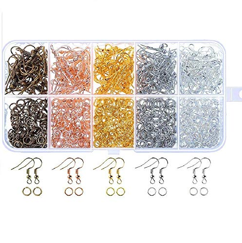 kuou 1125Pcs Jewellery-Making Accessories Kit, Jewellery Making Tools Attractive Fish Earring Hooks, Open Jump Rings with Storage Box for DIY Crafts