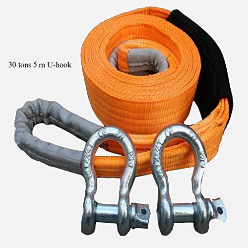 LXESWM 5 Meter Abschleppseil Heavy Duty Towing Gürtel bis zu 30 Tonnen, Abschleppseil mit 2 Haken - Perfekt for das Ziehen Auto LKW oder SUV CAR