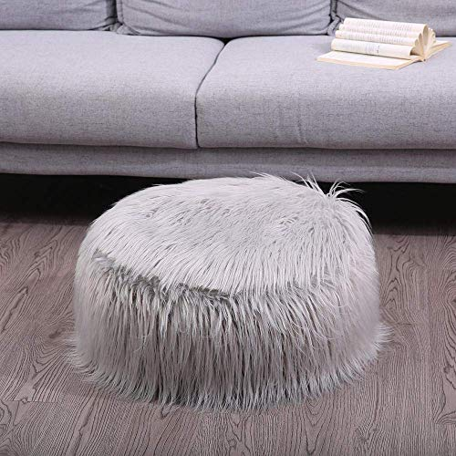 Comfortabel Zhuyue Faux Schapenvacht zitzak zachte vacht Bean Bag Fluffy Kleine Ronde Lazy Bean Bag Sofa Portable opblaasbare Christmas Decor-Gray_United Staten