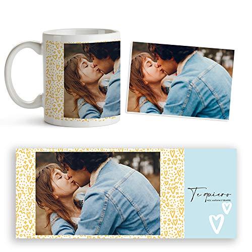 Fotoprix Taza Personalizada Te Quiero con Foto y Texto | Regalo parejas y novios | Día de San Valentín (Te quiero)