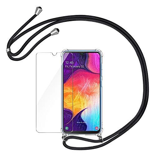 AROYI Handykette Handyhülle + Panzerglas Schutzfolie für Samsung Galaxy A50 Hülle mit Kordel zum Umhängen Necklace Hülle mit Band Schutzhülle Transparent Silikon Acryl Hülle für Samsung Galaxy A50