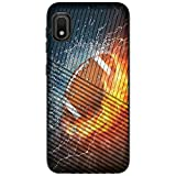 MINITURTLE Compatible with Samsung Galaxy A10e, A20e Dual Layer Hard Shell Ridges Grip Case Cover [Embossed] - Water Fire Football