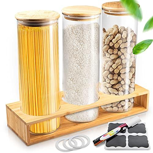 Enjoydays® Vorratsgläser mit Deckel im 3er Set | 2000ml Aufbewahrungsgläser mit passendem Bambusregal für die Küche | luftdicht & modern | BPA Free | ideal für Mehl, Müsli, Spaghetti, Reis oder Kekse