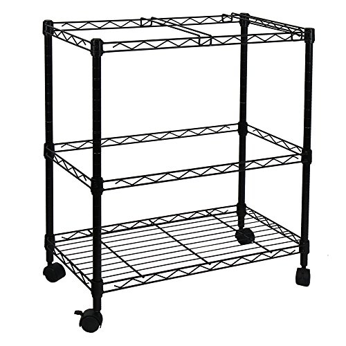 Oceanstar 2-Tier Metal Rolling File Cart, Black